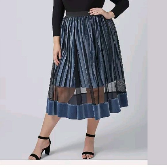 00067aef200f Lane Bryant Skirts | Blue Velvet Sheer Pleat Midi Skirt | Poshmark